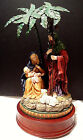 SILENT NIGHT Holy Family Nativity Music Box Metal Palm Trees Wood Base Christmas