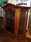 Vintage Country Wall or Counter Top Curio Cabinet Three Shelf w Glass Door