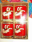 VINTAGE CULVER CHRISTMAS HOLLY GOOSE DOUBLE OLD FASHION GLASSES  SET OF 4  NIB