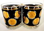 LIBBEY BLACK AND GOLD COIN GLASSES VINTAGE LOW BALL TUMBLER GLASSES SET OF (2)