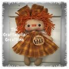 * primitive RAGGEDY ann ANNIE dolL * CUSTOM ORDER * Orange PLAID autumn FALL