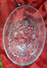 Vintage Blue Glass Indiana Large Oval Footed Serving Dish Fruit Bowl Holiday