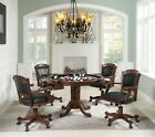 CARVED WOOD 3 IN 1 POKER BUMPER POOL GAME DINING TABLE 4 ROLLING ARM CHAIRS SET