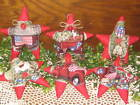 6 Patriotic Old Red Truck fabric stars Wreath making Bowl Fillers Home Decor