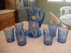 Vintage Hand Painted Blue Pitcher and 6 Glasses **BEAUTIFUL** ESTATE FIND!
