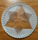 vtg indiana glass colony rosette platter clear frosted 12