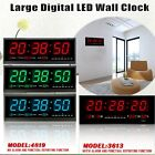 Large Big Jumbo LED Home Office Wall Desk Clock With Calendar Temperature 3Color
