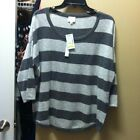 NWT SIONI Studio Xl X Large Gray Stripe  Casmere Blend Sweatrr Side Zippets Top