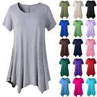 Women Cotton Swing Short Sleeve Tunic Tops Blouses Loose Fit Comfy T-Shirt Dress