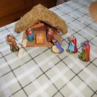 OLD GERMAN LITTLE PAPERMACHE NATIVITY SET WITH MIDWEST WOODEN MANGER