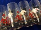 NEW Vintage Georges Briard Set of 6 Glass Tumblers Christmas Reindeers And Santa