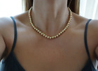 Vintage 14k Yellow Gold Ball Bead Necklace 8mm 191 Long Fine Jewelry