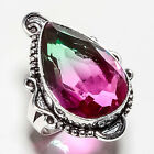 BI-COLOR TOURMALINE GEMSTONE 925 SILVER JEWRLRY RING 6