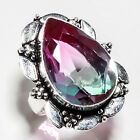 BI-COLOR TOURMALINE GEMSTONE 925 SILVER JEWRLRY RING 7.25