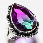 BI-COLOR TOURMALINE GEMSTONE 925 SILVER JEWRLRY RING 8.5