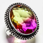 BI-COLOR TOURMALINE GEMSTONE 925 SILVER JEWRLRY RING 8
