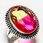 BI-COLOR TOURMALINE GEMSTONE 925 SILVER JEWRLRY RING 9