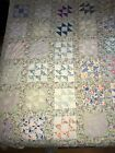 Antique Quilt Nine Square Block With Half Square Triangles Mixed With Plain Ones