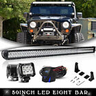 07 2017 Jeep Wrangler JK 52 INCH LED Light Bar+Mount Bracket+4 Lamps+Wiring Kit