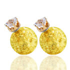 Candy Color Double Side Round Pearl Earings Resin Crystal Ball Studs Yellow NS