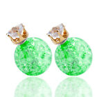 Candy Color Double Side Round Pearl Earings Resin Crystal Ball Studs Green NS