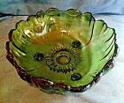 Vintage Indiana Colony Green Flower Shaped Glass 3 Footed  Serving Fruit Bowl