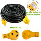 50 foot 30 amp RV Extension Cord Power Cable for Trailer Motorhome Standard