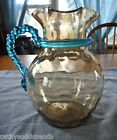 EAPG NEW ENGLAND GLASS INVERTED THUMBPRINT W BLUE TWISTED ROPE HANDLE PITCHER