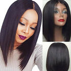 Short Bob Synthetic Lace Front Wigs Heat Resistant Straight Hair Natural Black