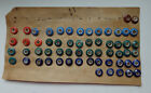 CARD OF 59 ANTIQUE CHINA BUTTONS  MOSTLY RINGERS VARIETY OF COLOR