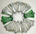 10 LG VINTAGE GLASS CHRISTMAS ORNAMENTS ALL GLITTER BELLS WEST GERMANY VGC