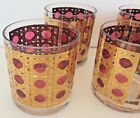 Set of 6 Georges Briard Double Old Fashioned Glasses Gold Encrusted Cranberry
