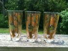 Vintage Retro Gay Fad  Gold Trimmed Barware Glasses Set of 3