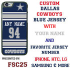 Dallas Cowboys Football Blue Jersey Personalized Phone Case fits Samsung etc.