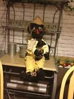 PRIMITIVE HALLOWEEN FALL BLACK SCARECROW DOLL WITH HIS CROW ORNIE DECOR