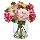 Artificial 10 Pink Roses  Berry Mixed Floral Arrangement Faux Water Glass Vase