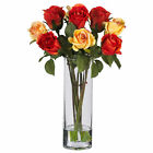 Artificial 16 Roses Multi Color Red Yellow Silk Flowers Faux Water Glass Vase