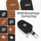 Multi-Brand Women Men Genuine Cow Leather Zip Car Key Holder Ring Chain Case Bag