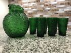 Vintage Anchor Hocking Milano Forest Green Glass Pitcher and Tumbler Set
