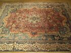 Vintage 9 x 13 Hand Knotted Antique Persian Kashmar Rug _Soft Colors _ Fine Wool