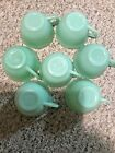 FIRE KING JADEITE  JANE RAY TEACUPS Coffee SET OF 7 EXCELLENT.