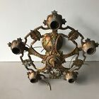 Antique Art Deco cast alloy 5 socket ceiling light fixture polychrome
