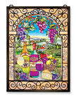 AMIA Art Glass GREAT VINTAGES Wine and Cheese WINDOW PANEL  9717