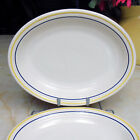 Homer Laughlin Fiesta 11-inch Oval Platter in White with Blue and Yellow Stripe