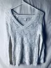 Studio Y Small Sweater White Sequined Ailver Knit Acrylic Polyester Blend