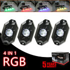 4 Pods RGB LED Rock Light Offroad Music Wireless Bluetooth Control ATV Jeep Ford