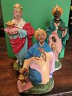 3 Vintage Nativity Crche Wise Men Paper Mache Plaster Composition Made in Italy