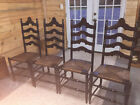 Set of 4 Vintage Rush Seat Ladder Back Chairs