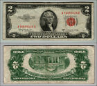1953C $2 DOLLAR BILL OLD US NOTE LEGAL TENDER PAPER MONEY CURRENCY RED SEAL P578