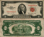 1953B $2 DOLLAR BILL OLD US NOTE LEGAL TENDER PAPER MONEY CURRENCY RED SEAL Y686